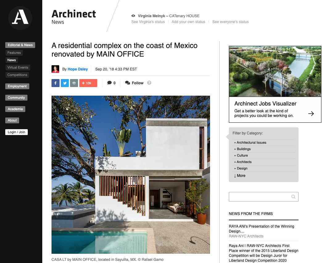 Archinect News by Hope Daley about Main Office project Casa Linda Theresia LT
